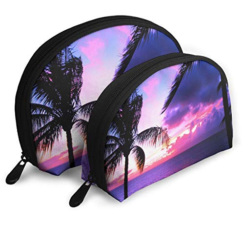 Makeup Bag Hawaii Sunset Funny Portable Shell Toiletry Organizer For Mother Halloween Gift 2 Pack ()