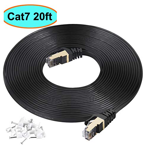 (Cat7 Ethernet Cable 20 ft Black Shielded (STP), AULLOV High Speed Flat RJ45 Cat-7/Category 7 Internet LAN Computer Patch Cord Cable, Faster Than Cat5/Cat6-20 Feet Black (6 Meters))