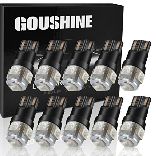 (GOUSHINE T10 194 LED Wedge W5W 168 Car Light Bulb Yellow Extremely Bright 5-5050SMD 100LM For Auto Car Interior Light Dome Light License Plate Trunk Light Lamp 12V Pack of 10)