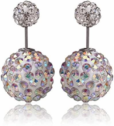 megko Fahiosn Shambhala Crystal Earrings Double Sided Beads Balls Earring Stud for womens
