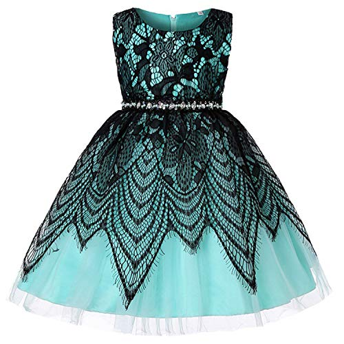 Balalei 2019 Kids Girls Dress Wedding Sleeveless Princess Dress Dresses for Girl Children's Clothing,Green,4T ()