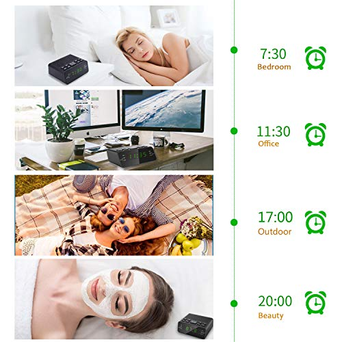 Alarm Clock, Digital Alarm Clock Radio with AM/FM Radio, Sleep Timer, Dimmer, Snooze and 0.6 LED Display for Bedrooms (Black-Green)