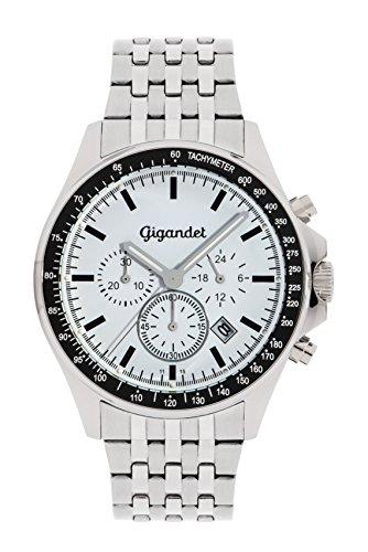 Gigandet Men's Quartz Watch Volante Chronograph Analog Stainless Steel Bracelet Silver White G3-012