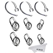 ALXCD Ear Gels & Ear Hook for Plantronics, 6 Pcs (Small/Medium/Large) Clear Replacement Ear Tip & 3 Pcs Clear Ear Hook, Fit for Plantronics M155 M165 M1100 M100 M55 M28 Voyager Edge (6+3)