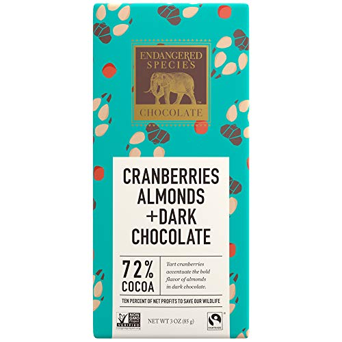 (Endangered Species Wolf, Natural Dark Chocolate (72%) with Cranberries & Almonds, 3-Ounce Bars (Pack of 12) )