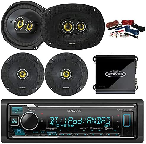 Kenwood Bluetooth AM FM Car Stereo Receiver Bundle Combo with 2x Kicker 600-Watt 6.5 Inch 2-Way Speakers, 2 x 900W 6×9 3-Way Coaxial Speakers, 4-Channel Amplifier w 8g Installation Kit