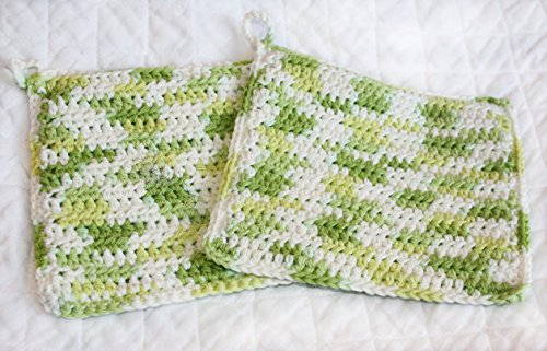 Cotton Crocheted Potholders, Set of Two