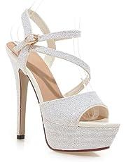 Mujeres Tobillo Correa Sandalias Zapatos Boda Nupcial Zapato Mirar furtivamente Dedo del pie Strappy Plataforma Estilete Señoras Alto Tacón Blanco Oro