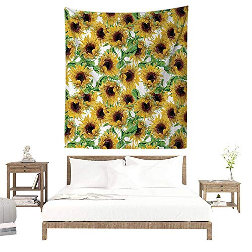 alisoso Wall Tapestries Hippie,Sunflower Decor Collection,Dried Sunflowers Illustration Wildflowers Branch Herbarium Artistic Design Fine Art W70 x L93 inch Tapestry Wallpaper Home Decor