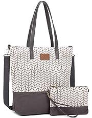 Myhozee Damen Handtasche Canvas Groß Schultertasche Tasche mit Einer Portmonee 2 Sets