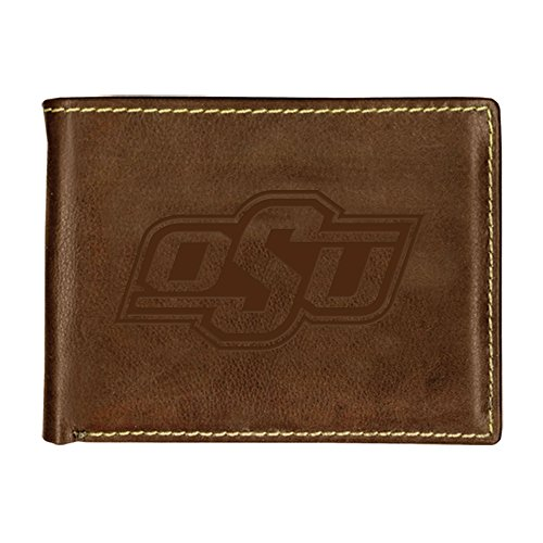 Oklahoma State University Contrast Stitch Bifold Leather Wallet (Brown)