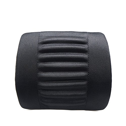 LOCEN Relief Lumbar Muscles Cushion Lower Back Pain Comfort Support Pillow - Perfect for Car Office Chair Home Sofa (Black)
