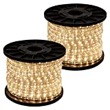 GotHobby 300' Warm White 2-wire LED Rope Light Flexible Home Outdoor Christmas Decorative