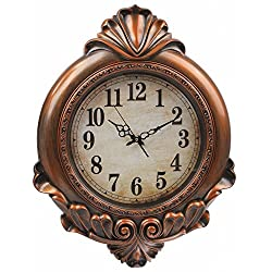 Hans & Alice Large Indoor/Outdoor Decorative Bronze Wall Clock - Universal Non Ticking & Silent 29 Inches (Bronze 2)
