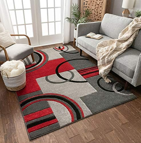 Well Woven Grey Red Galaxy Waves Modern Abstract Arcs and Shapes 9'3″ x 12'6″ Area Rug