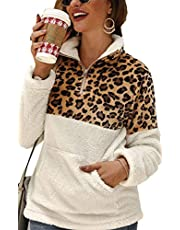 Angashion Womens Long Sleeve Half Zip Up Warm Fuzzy Leopard Print Patchwork Fleece Pullover Tops with Pocket for Winter 357Gray M