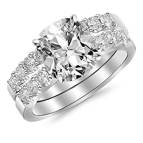Cushion Diamonds Round Loose (3 Ctw 14K White Gold Bridal Set Classic Side Stone GIA Certified Cushion Cut w/2.01 Carat Cushion F VS2)