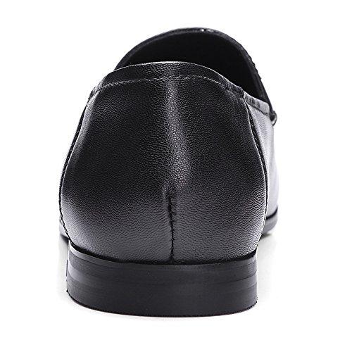 Flat Heel Flat Nine Women's Seven Leather Toe Round Genuine Handmade Shoes Black 0qn7YzrBn