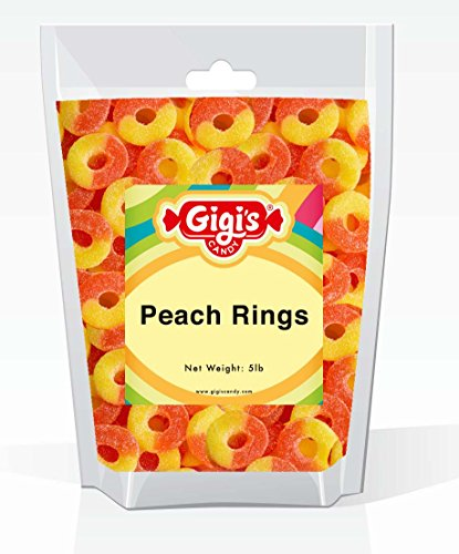 Gigi's Candy Gummy Peach Rings in Resealable Bag,Premium Quality (5 Lb) -