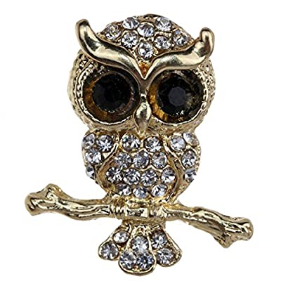 Hot Yazilind Jewelry Gold Plated Champagne Crystal Cute Owl Brooches and Pins for Wedding Party free shipping
