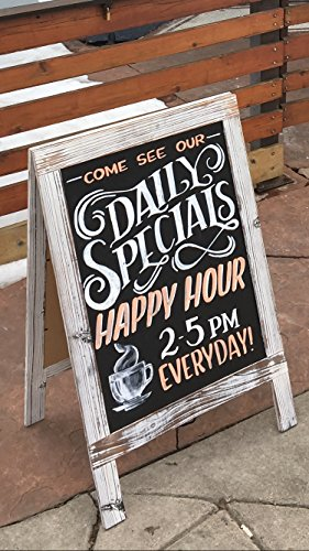 Stand Up Chalkboard Sign / Rustic Vintage A-Frame Sidewalk Message Board (20' W x 30' L) / Outdoor Sandwich Board - Great Value, Size & Style