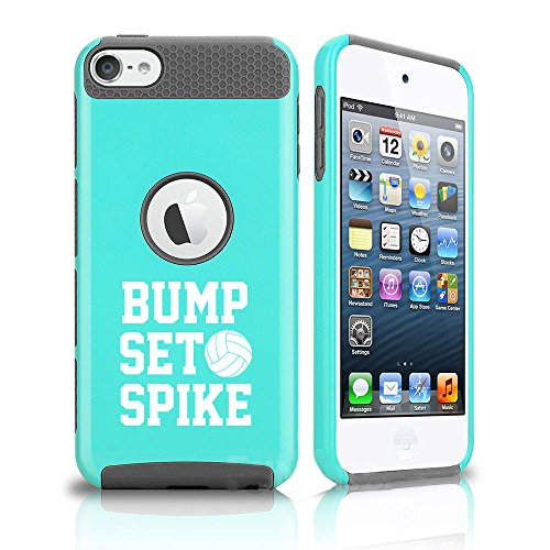 for Apple iPod Touch 5th / 6th Shockproof Impact Hard Soft Case Cover Bump Set Spike Volleyball (Teal-Grey)