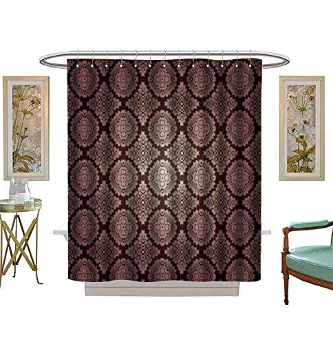 Shower Curtains Digital Printing Retro Wallpaper Fabric Bathroom Set with Hooks Size:W72 x L96 inch