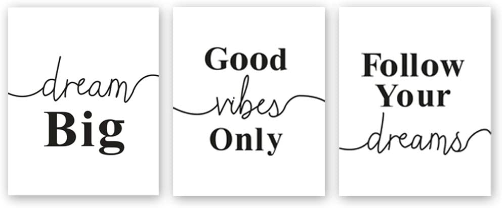 """Chsdec Black & White Typography Motivational Lettering Minimal Art Wall Positive Quote Poster,Canvas Inspirational Phrases Set of 3 Art Print(8""""x10"""") for Classroom Office Decorations"""