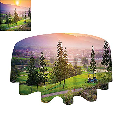 SATVSHOP Round Table-70Inch-for Birthday Party, Graduation Party.Farm House Vibrant Golf ort Park in Spring Season with TRE Sunset Hills and Valley