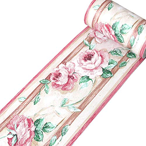 Yenhome Floral Waterproof PVC Self Adhesive Wallpaper Border Stick and Peel Scroll Wall Border for Kitchen Kids Room Wall Stickers Home Decor 3.94 inch X 32.8 feet