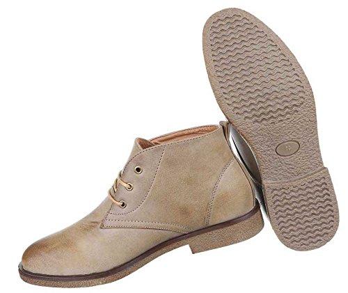 Herren Boots Schuhe Schnürer Stiefeletten Used Optik Schwarz Camel Beige 40 41 42 43 44 45 Beige