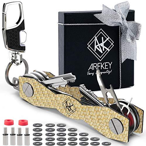 Carbon Fiber Compact Key Holder - Premium Heavy-Duty Key Organizer UP to 28 Keys -B0NUS Keychain Holder with Loop Piece for Belt or Car Keys - SIM & Bottle Opener + Video Instructions (Gold Carbon).