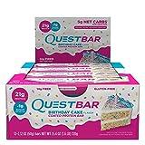 Quest Nutrition Barra de Pastel de Cumpleaños, Paquete de 12 Piezas, 719 gr