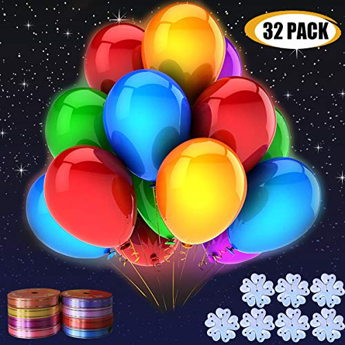 M.C.works 32 Pack Light Up Balloons Party LED Balloons Fun time, 8 Colors Balloon, Colorful Warm Light, Lasts 12-24 Hours for Birthday, Wedding, Parties, 7 Blossom Clips & Ribbon Included.