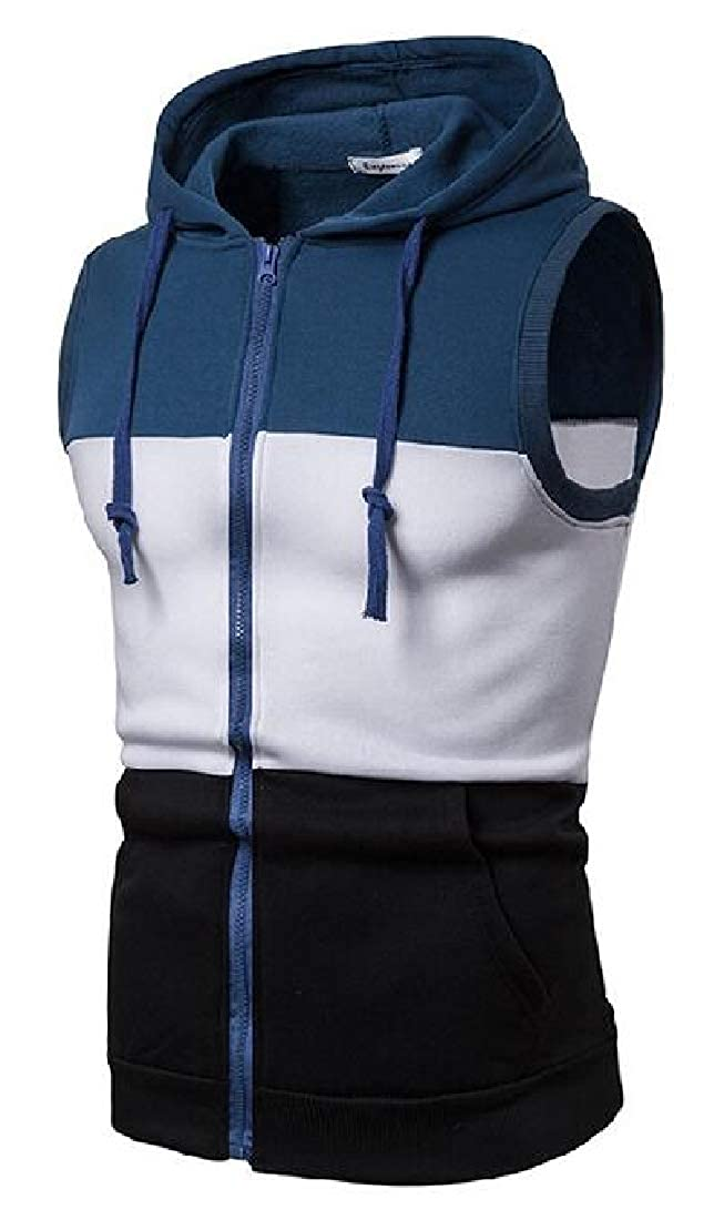 Jotebriyo Mens Full-Zip Casual Hooded Sleeveless Contrast Tank Top Tees