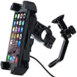 Motorcycle Phone Mount Holder Charger 5V 2.4A USB Port,Fix on Handlebar/Mirror Bar,Adjustable 360°,Fits iPhone X 8 7 6 5 Plus Samsung Galaxy S 9 8 7 6 5 Edge All 3.5-6 Cell Phones GPS