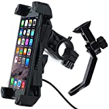 Motorcycle Phone Mount with Charger 5V 2.4A USB Port Install on Handlebar/Mirror Bar, Leepiya Cell Phone Holder for iPhone X 8 7 6 5 Plus, Galaxy S9 S8 S7 S6 Plus and All 3.5 to 6'' Mobile Phone/GPS