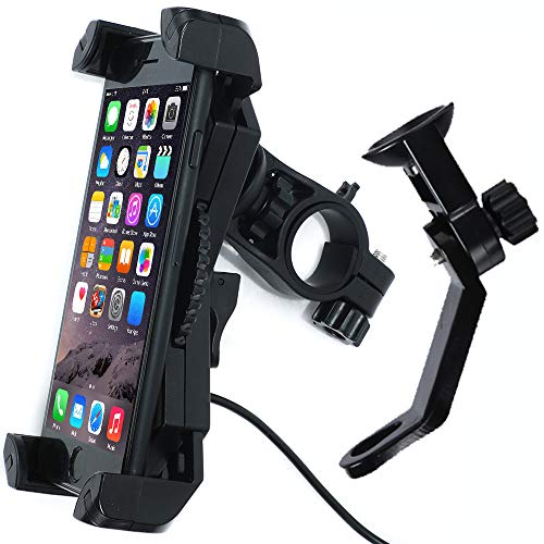 Motorcycle Phone Mount with 5V 2.4A USB Charging Port, Leepiya Cell Phone Holder for Apple iPhone, Samsung, LG, HTC&GPS, 3.5–6 Inches Adjustable Cradle Clamp,Can Fix on Handlebars & Mirror Bar by Leepiya