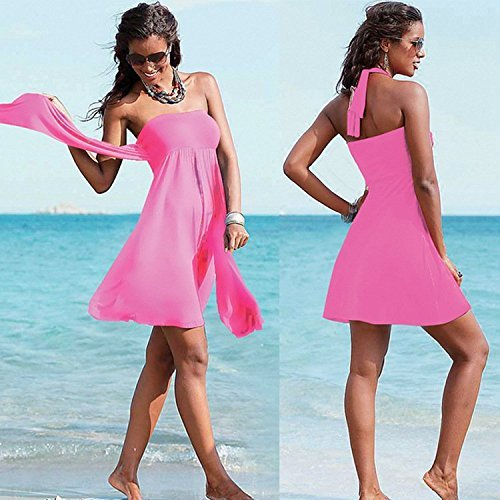 Minetom Mujer Verano Trajes De Baño Playa Vestir Envuelto Pecho Falda Con Cinta Swimsuit Rose B