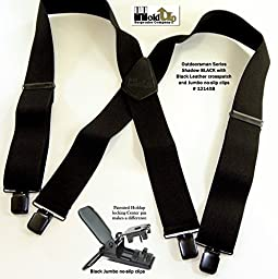 Shadow Black 2'' Wide 48'' Long Heavy Duty Suspender With Patented No-Slip® Clips