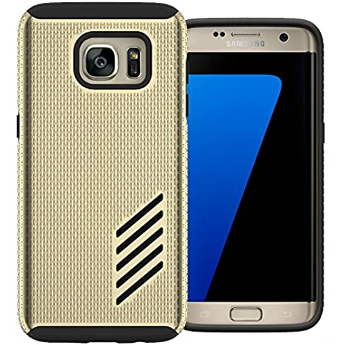 Galaxy S7 Edge Case, MagicSky Carbon Texture Thin Slim Fit Dual Layer TPU Rubber Bumper Protective Case Cover for Samsung Galaxy S7 Edge Case (2016) - Gold Sales
