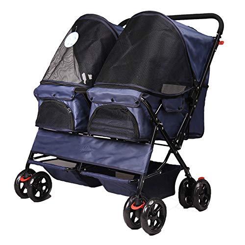 GWM Backpacks Pet Stroller, Double Row Pet Cat Dog Easy Folding Four-Wheel Travel Pet Stroller Oxford Fabric