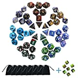Polyhedral Dice Set 8x7-Die Series Two Colors for Dungeons and Dragons DND RPG MTG Table Games Dice with Complete Set of d4, d6, d8, d10, d12, d20 + FREE Pouches