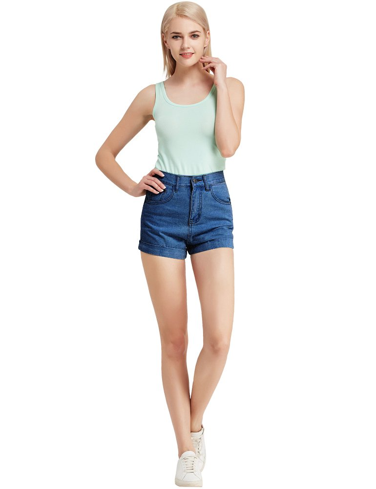 CUNLIN Women High Waisted Denim Shorts Fashion Summer Sexy Vintage Distressed Folded Hem Jeans Shorts Blue 25 by CUNLIN (Image #3)