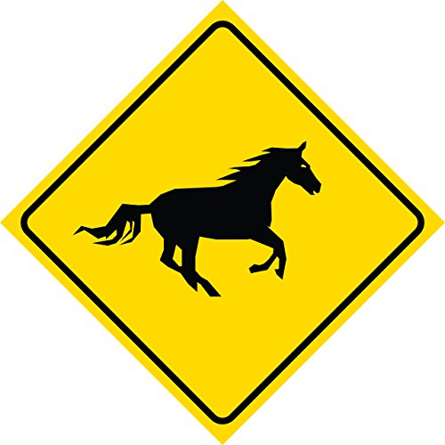 Aluminum Yellow Caution Diamond Crossing Running Horse Signs Commercial Metal Square Sign - Single Sign, 12x12