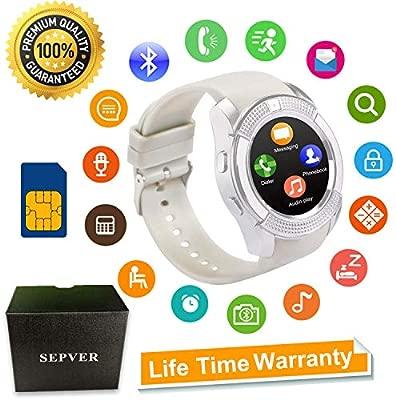 SEPVER Smartwatch Reloj Inteligente Smart Watch con Cámara Soporte de Pantalla Táctil Tarjeta SIM Compatible con Samsung Sony HTC Huawei Xiaomi ...