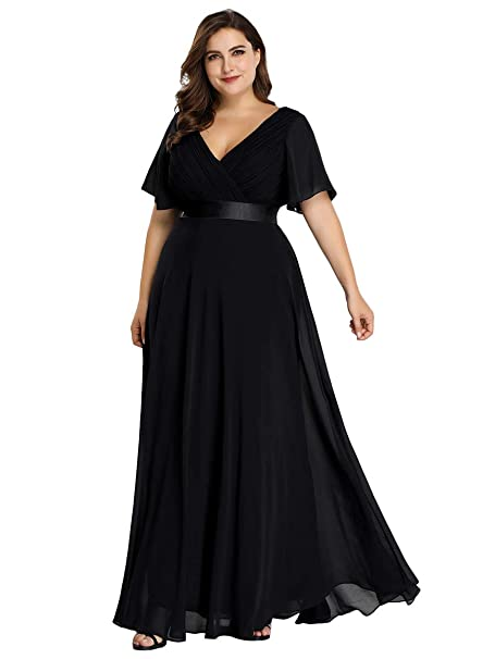 Alisapan Womens Plus Size Bridesmaid Dress Chiffon Long Formal Evening Prom  Dresses 9890