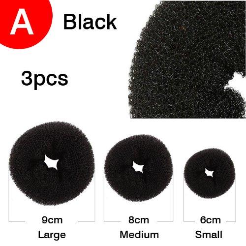 Black 3pcs Set Donut Three Hair Bun Ring, Shaper Hair Styler Maker BUY NOW GorgeousCC MFZH01