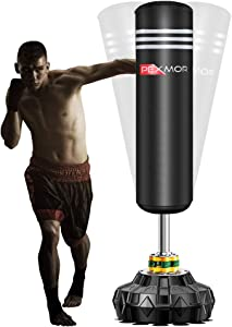 PEXMOR Freestanding Punching Bag Heavy Solid Boxing Bag with Suction Cup Armor Base & Noise Vibration Absorption Device for Adult Youth - Men Stand Kickboxing Bags Kick Punch Bag | Black