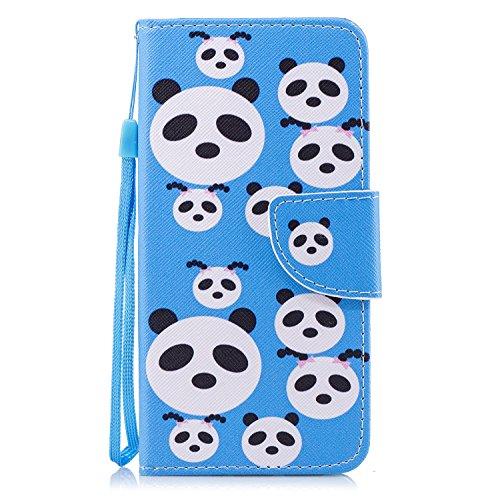 Funda para Huawei Honor 9 Lite , IJIA Adorable Panda TPU + PU Cuero Ranuras para Tarjetas de Crédito Flip Caja [Estilo Libro,Soporte Plegable ] Cover Tapa Caso Parachoques Carcasa Cubierta Shell para